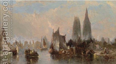 The port at Rouen by Alfred Montague - Reproduction Oil Painting