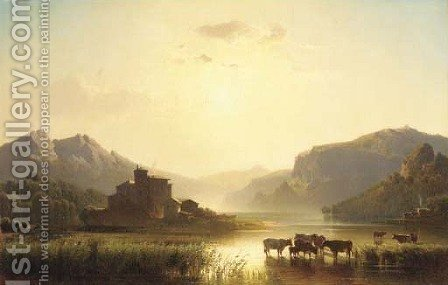 Cattle watering in a continental landscape by Alfred Nichols - Reproduction Oil Painting