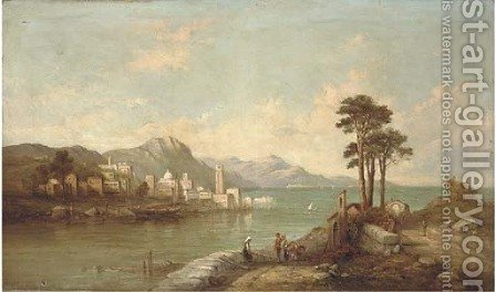 Figures before an italianate lake by Alfred Pollentine - Reproduction Oil Painting