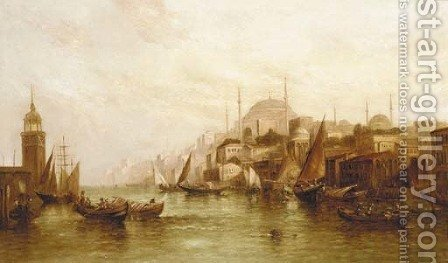 The Golden Horn with the Blue Mosque and Constantinople beyond by Alfred Pollentine - Reproduction Oil Painting