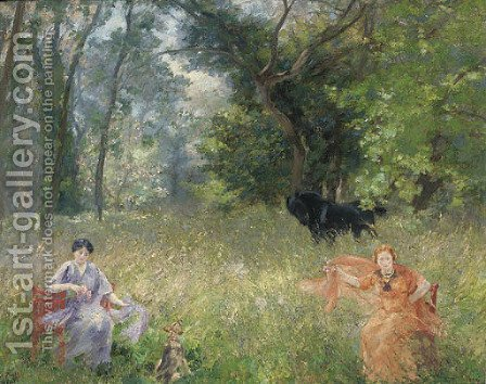 Flower pickers in a summer meadow by Alfred Roll - Reproduction Oil Painting