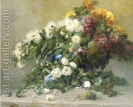 Mixed summer flowers in a blue vase on a table by Alfred Ruytinx - Reproduction Oil Painting