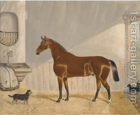 A chestnut hunter in a stable by Alfred Wheeler - Reproduction Oil Painting