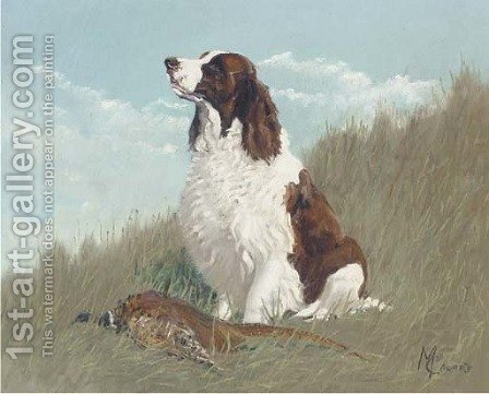 A gundog with a partridge by Alfred Wheeler - Reproduction Oil Painting