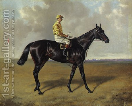 Cheers with jockey up, on a racecourse by Alfred Wheeler - Reproduction Oil Painting