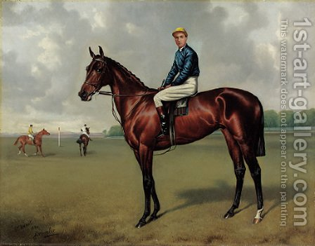 Alfred Wheeler: St. Amant with jockey up, on a racecourse - reproduction oil painting