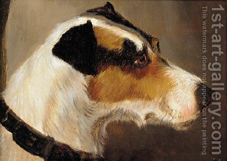The head of a terrier by Alfred Wheeler - Reproduction Oil Painting