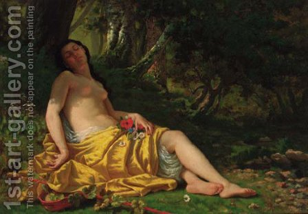 The sleeping beauty by Alfred-Charles Foulongne - Reproduction Oil Painting
