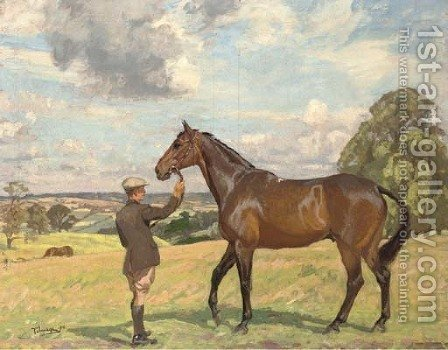 A hunter and groom in an extensive landscape by Algernon Talmage - Reproduction Oil Painting