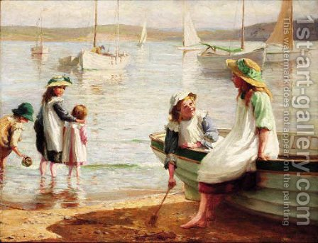 Children playing on the beach by Alice Hogarth Nicholson - Reproduction Oil Painting