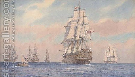 Nelson in H.M.S. Victory joining the fleet off Cadiz prior to the battle of Trafalgar by Alma Claude Burlton Cull - Reproduction Oil Painting