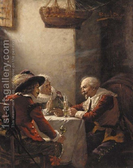A military discussion by Alois Priechenfried - Reproduction Oil Painting