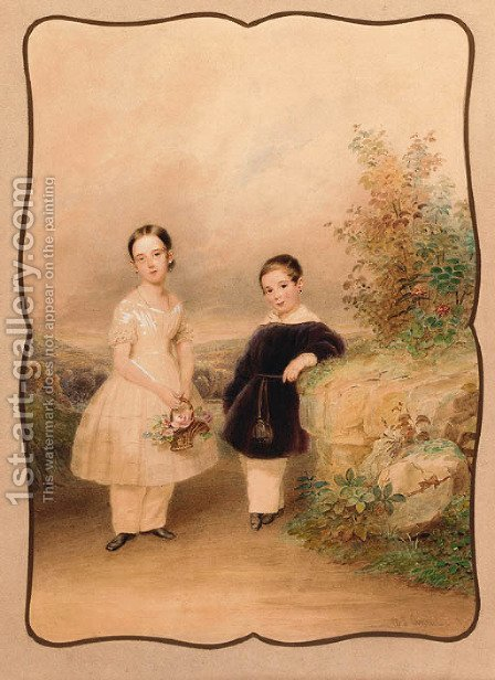 Two children in a summer landscape by Alois Von Anreiter - Reproduction Oil Painting