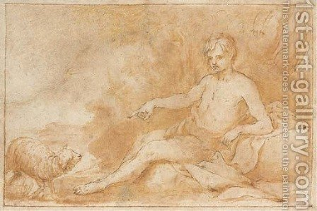 Saint John the Baptist, seated, pointing to a lamb by Alonso Cano - Reproduction Oil Painting