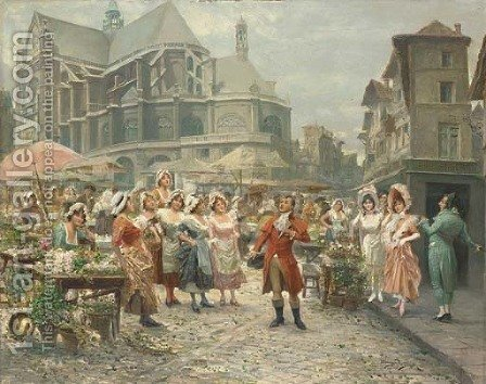 The entertainer at Les Halles, Paris by Alonso Perez - Reproduction Oil Painting