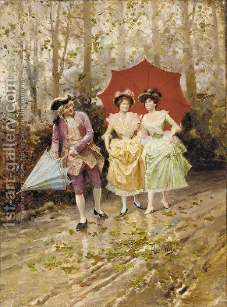 The rainy walk by Alonso Perez - Reproduction Oil Painting