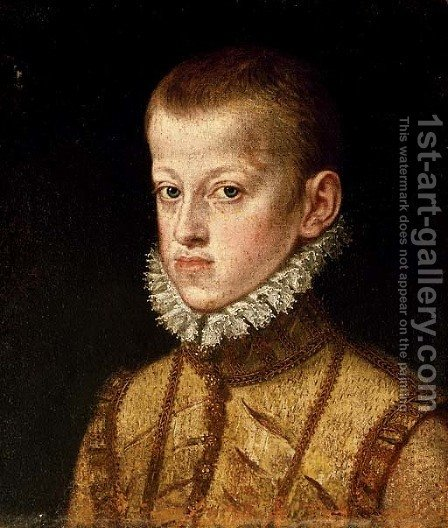 Portrait of Archduke Ernst of Austria, as a boy, bust-length by Alonso Sanchez Coello - Reproduction Oil Painting