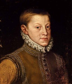 Reproduction oil paintings - Alonso Sanchez Coello - Portrait of Archduke Rudolph II, Holy Roman Emperor, as a boy, bust-length