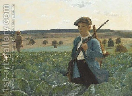 De retour de la chasse by Alphonse Gaudefroy - Reproduction Oil Painting