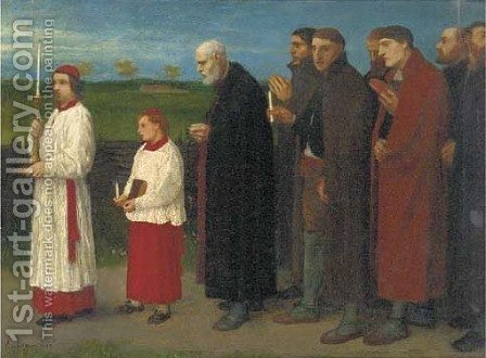 A religious procession by Alphonse Legros - Reproduction Oil Painting