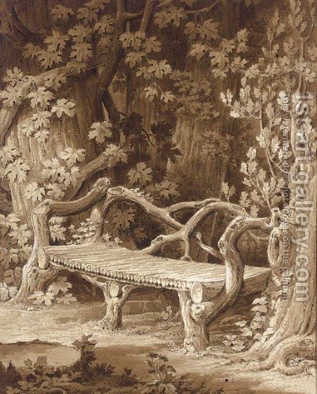 A rustic bench built of roots set among trees by Amelie Munier-Romilly - Reproduction Oil Painting