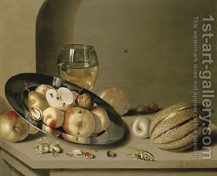 Apples, pears, peaches and walnuts on a pewter plate with fruit, a roemer, a melon, chestnuts and a grasshopper on a stone ledge in a niche by Ambrosius the Younger Bosschaert - Reproduction Oil Painting