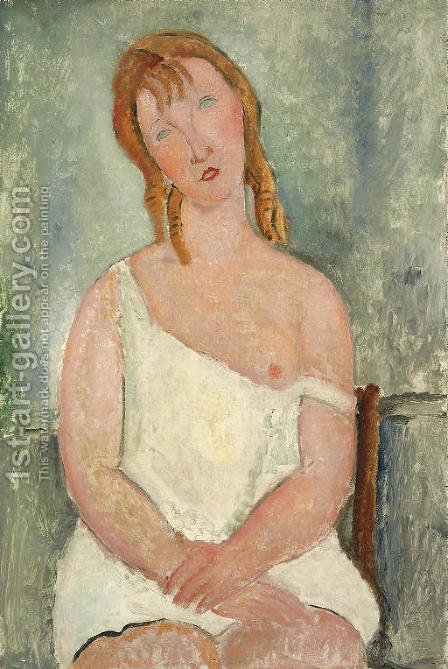 Jeune fille assise en chemise by Amedeo Modigliani - Reproduction Oil Painting
