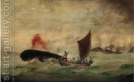 Harpooning a sperm whale by American School - Reproduction Oil Painting