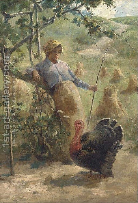 The prize turkey by American School - Reproduction Oil Painting