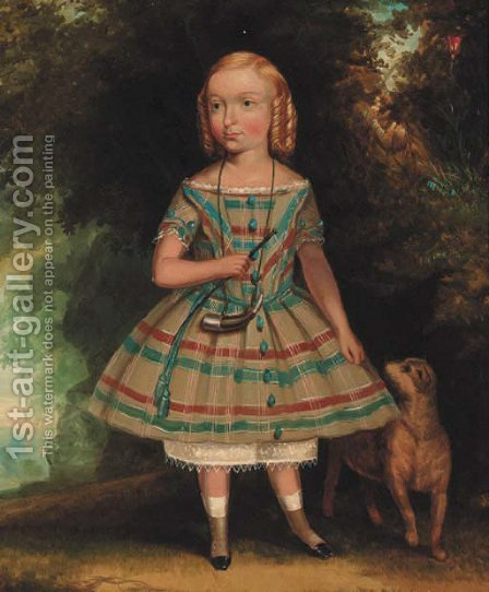 Portrait of a young girl by American School - Reproduction Oil Painting