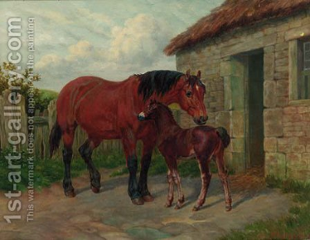 A mare and foal by a stable by Amos Watmough - Reproduction Oil Painting