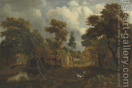 A wooded river landscape with travelers on a path by (after) Meindert Hobbema - Reproduction Oil Painting