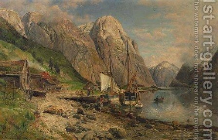 Fisherfolk in a fjord in summer by Anders Monsen Askevold - Reproduction Oil Painting