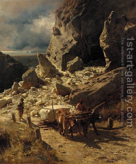 The marble quarries at Carrara by Andras Marko - Reproduction Oil Painting