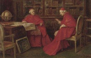 Reproduction oil paintings - A. Zoffoli - Cardinals studying a map