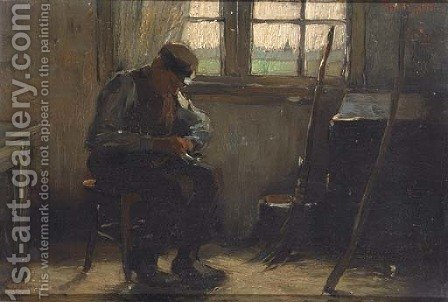 A man in his workshop by Alexander Gerhard Anton Ridder Van Rappard - Reproduction Oil Painting