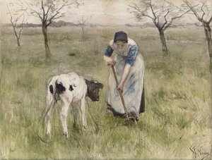 Reproduction oil paintings - Anton Mauve - A Peasant Woman and her Calf