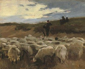 Reproduction oil paintings - Anton Mauve - A shepherd and his flock