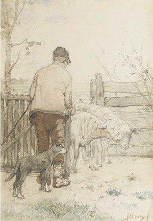 Reproduction oil paintings - Anton Mauve - Bringing in the sheep