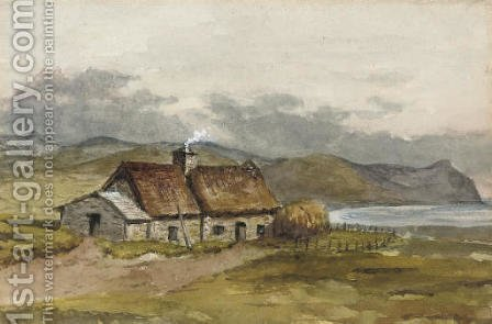 A crofter's cottage on the coast by A.C. (after) Cooke - Reproduction Oil Painting