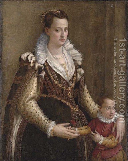 Portrait of a lady with a child by (after) Lavinia Fontana - Reproduction Oil Painting