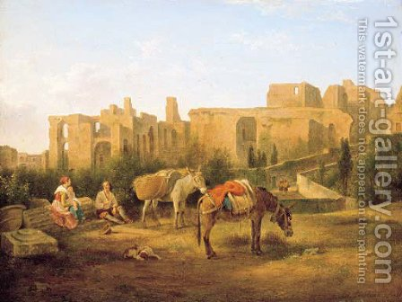 Figures resting before ruins by (after) Abraham Alexandre Teerlink - Reproduction Oil Painting