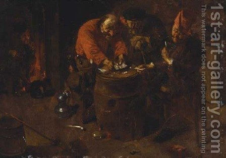 Elderly peasants playing cards on a barrell, in an interior by (after) Abraham Diepraam - Reproduction Oil Painting