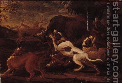 Hounds attacking lions; and Hounds attacking a bull by (after)  Abraham Danielsz Hondius - Reproduction Oil Painting