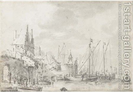 A busy harbour with figure loading a small boat by (after) Abraham Storck - Reproduction Oil Painting