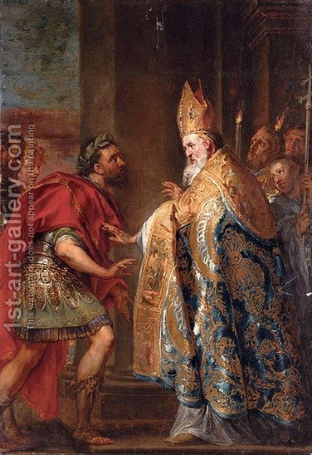 The Emperor Theodosius before Saint Ambrose by (after) Abraham Jansz. Van Diepenbeeck - Reproduction Oil Painting