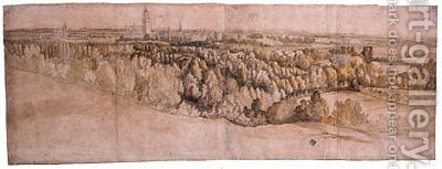 A panoramic View of the City of Arnhem seen from the North by (after) Adam Frans Van Der Meulen - Reproduction Oil Painting