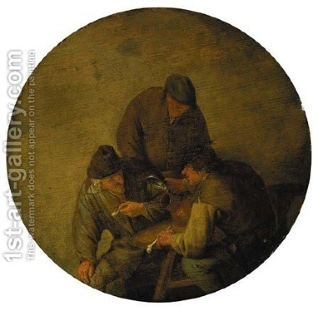 Three boors smoking and drinking in an inn by (after) Adriaen Jansz. Van Ostade - Reproduction Oil Painting