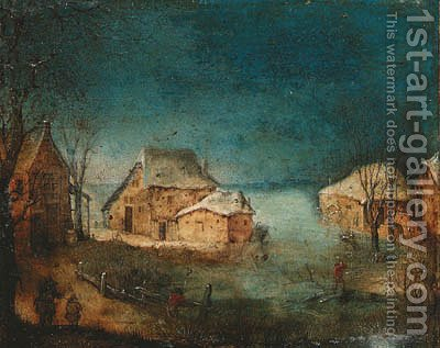 A coastal winter landscape by (after) Adriaen Van Stalbemt - Reproduction Oil Painting