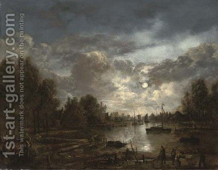 A moonlit river landscape with figures and shipping, a town beyond by (after) Aert Van Der Neer - Reproduction Oil Painting